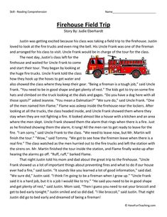 This Reading Comprehension Worksheet - Firehouse Field Trip is for teaching reading comprehension. Use this reading comprehension story to teach reading comprehension. Reading Comprehension Worksheets, Reading Resources, Reading Strategies, Comprehension Strategies, Have Fun Teaching, Teaching Reading, Reading Practice, Learning, Third Grade Reading