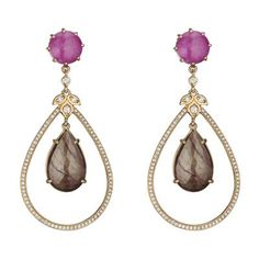 Penny Preville: Open Pear Shape Earring with Pink Sapphire Top & Brown Sapphire Center