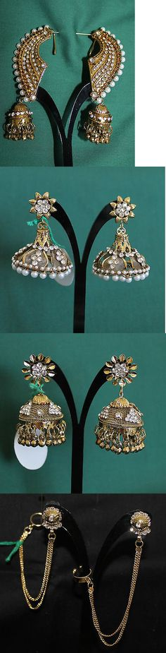 Earrings 98510: Earrings 5846 Polki Indian Ethnic Jewelry Shieno Sarees BUY IT NOW ONLY: $30.0