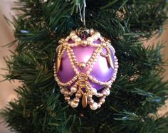 Beaded Christmas ornament cover in icicle by ElegantPerle on Etsy