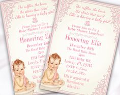 Baby Shower Invitation for Baby GIrl Vintage Baby by Hottomatoink2, $13.75