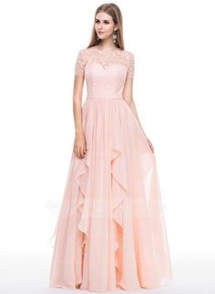 A-Line Princess Scoop Neck Floor-Length Chiffon Lace Evening Dress With  Beading 70d44f0b790a