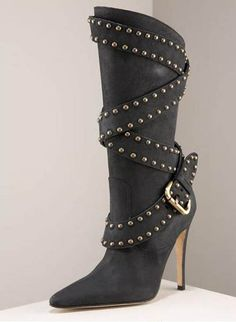 Manolo Blahnik studded-strap boot