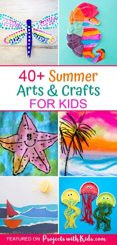 40 Sensational Summer Arts and Crafts for Kids Say goodbye to summer boredom with this amazing collection of summer arts and crafts that kids will love! Lots of ideas to keep kids of all ages and abilities engaged and creating all summer long. Summer Crafts For Toddlers, Summer Arts And Crafts, Holiday Crafts For Kids, Summer Activities For Kids, Craft Projects For Kids, Arts And Crafts Projects, Toddler Crafts, Fun Crafts, Creative Activities