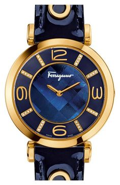 Salvatore Ferragamo 'Gancino Deco' Leather Strap Watch