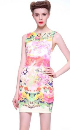 Pink Sleeveless Floral Crane Print Bodycon Dress pictures