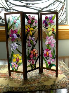 Dollhouse Miniature Artisan Leaded Glass Room Screen