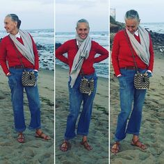 Summer by the ocean....#Montauk #Hamptons #CrimsonCashmere red crewneck #CrimsonCashmere Grey poncho #45rpm jean @rondini_officiel St. Pierre sandal @guanabanahandmade Bag