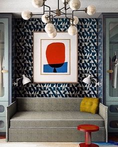 chic sitting area in primary colors and geometric prints