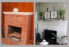 The beauty of a painted brick fireplace!