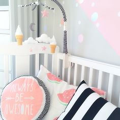 "Beautiful light #nursery. Mobile by amzhome. ""Always be Awesome"" pillow by Cotton on Kids. - Minime.nl #baby"
