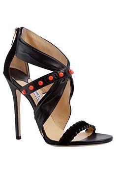 Jimmy Choo Black Sandal with Red Details Spring Summer 2014 #Choos #Heels #Shoes