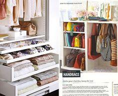 closet organization clothing handbag purse hooks