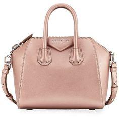 Givenchy Antigona Mini Leather Satchel Bag ($1,950) ❤️ liked on Polyvore featuring bags, handbags, handbags satchels, light pink, leather hand bags, zip top tote bag, leather handbags, handbags totes and tote purses