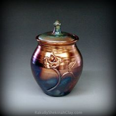 Brilliant Copper and Blue Lidded Raku Pot or Raku Urn by Raku4u, $75.00
