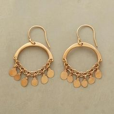 """SUNNY EARRINGS--Like drops of golden sun, paillettes drip beneath forged arcs, all handcrafted in matte 18kt vermeil. Made in USA with French wires. 1-1/2""""L."""