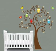 Kids tree with a set of 4 owls and birds  vinyl wall decal cute for a nursery or childs room.