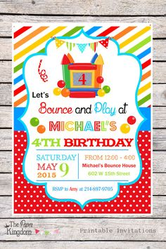DIY Bounce House Party Invitations, Bouncy Castle, Printable Bounce House Birthday Invitations -