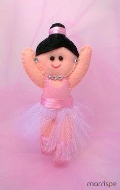 Bailarina em feltro #artesanato #feltro #tecido #feitoamao #decor #decoração #organização #lembrancinhas #balé #bailarina #boneca #marrispe