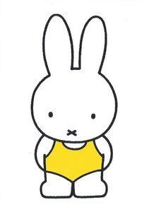 *Dick Bruna~ Nijntje in badpak Book Cover Design, Book Design, Bunny Drawing, Miffy, Kawaii Stationery, Japanese Poster, Line Friends, Picture Wall, Hello Kitty