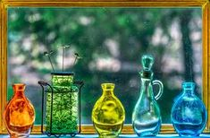 Glass,Bottles,Colored Jars,Window