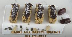 Barres aux dattes, noix et riz soufflé Krispie Treats, Rice Krispies, Granola, Brunch, Menu, Vegan, Desserts, Dates, Snacks
