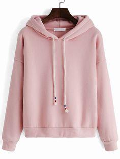 Hooded Drawstring Loose Pink Sweatshirt *** Emily Grace I-/*** Grunge Outfits, Fall Outfits, Casual Outfits, Cute Outfits, Fashion Outfits, Womens Fashion, Hoodie Sweatshirts, Hoody, Sweat Shirt