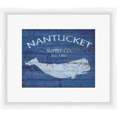 PTM Images Add coastal-chic appeal to your entryway or kitchen with this framed and matted giclee print, showcasing a distressed whale motif in blue. Beach Cottage Style, Coastal Cottage, Coastal Style, Beach House Decor, Coastal Decor, Nantucket Decor, Painting Frames, Painting Prints, Tropical Home Decor