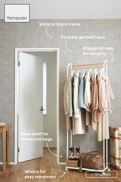 Create a closet anywhere with this portable garment rack. Includes two staggered wooden rods for hanging clothes and a base shelf on casters.