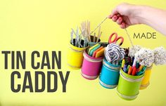 TUTORIAL: Tin Can Caddy for Earth Day and Mother's Day | MADE Like how she tied them together!