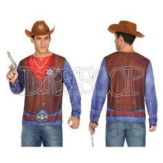 Disfraz camiseta 3 D Sheriff para hombre - Dresoop.es