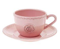 Xícara de Chá com Pires Batalha Rosa - 250ml