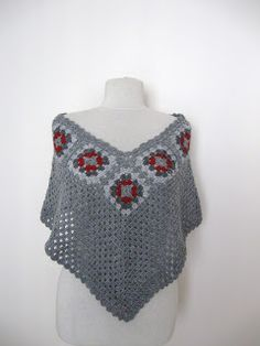 Knit And Wedding Bridal Accessories and Free pattern: Crochet grey poncho with granny square motifs gift guide fall winter fashion