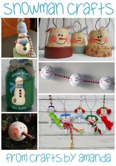 If you are looking for festive plastic spoon crafts these adorable snowmen in wintery clay pots make a fun decoration or place holder.