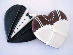 Bride & Groom Cookies by IndulgeDesserts, via Flickr