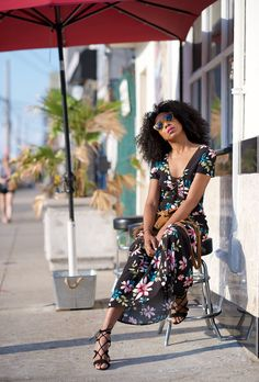 Browse 20 picture-perfect picnic outfit ideas at @stylecaster   'Where Did U Get That' blogger @karenbritchick in floral-print maxi dress, black lace-up flats