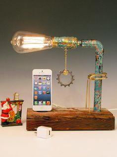 iPhone, iPod dock AND table lamp. iPhone 3, 4, 5. Recycled wood. Copper. Steam punk. Industrial. 3 way light with one way bulb. (314). $115.00, via Etsy.
