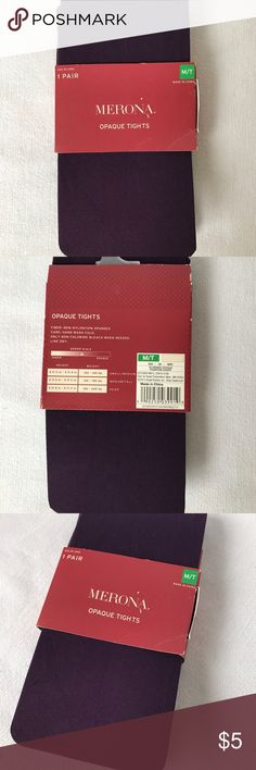 Merona Opaque Tights in Phantom Grape, Sz M/T Opaque tights, New in Packaging. The color is called Phantom Grape. It looks like an eggplant color.   Please feel free to ask any questions or use the offer button to make an offer. Everything is negotiable! Merona Accessories Hosiery & Socks