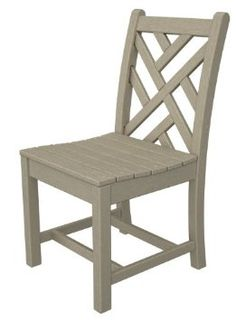 "Pack of 2 Recycled Chippendale Outdoor Patio Dining Chairs - Khaki. From the Thomas Chippendale Collection Chairs are inspired by the 18th century Chippendale style and features fine, intricate design details.  Featuring a contoured seat and stylized legs, these chairs deliver comfort and style at a great value Have the ""look"" of wood but are made from all recycled materials, so you can kick back, relax and feel good about your purchase Super-sturdy and built to last, even in strong winds…"