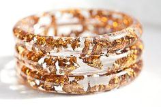 resin bangle bracelet - copper gold flakes | via etsy