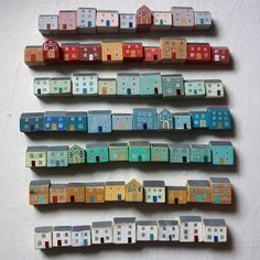 Indigo Blue and Lime Trees — misswallflower: by Valériane LeblondLittle painted wooden houses by Valériane Leblondby Valériane Leblond This would be a cool fridge magnet honestlySome how this is just the cutest thing! by Valériane Leblondby Val Clay Houses, Ceramic Houses, Miniature Houses, Wooden Houses, Art Houses, Wood Crafts, Diy And Crafts, Arts And Crafts, Wood Projects