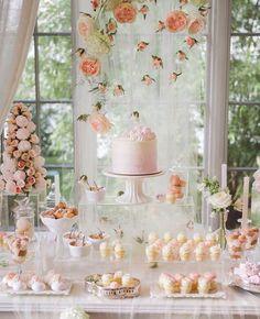 The Biggest Wedding Trends 2019 ★ 2019 wedding trends suspended peach flowers above gentle dessert table katya_avramenko Candybar Wedding, Dessert Bar Wedding, Wedding Desserts, Wedding Cakes, Buffet Dessert, Gold Dessert, Dessert Bars, Dessert Table Backdrop, Pink Dessert Tables