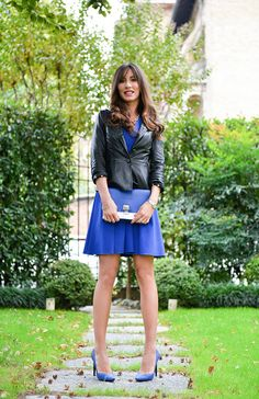 #PROENZASCHOULER dress pumps and clutch #DOLCEGABBANA leather jacket #CHANEL necklace