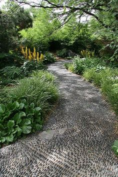Garden paths as garden décor, help to create a mood. Stone paths are a great variant for a garden design close to nature, and pebbles are a fantastic idea, they are easy to handle and reminiscent of the sea, it's very easy to make patterns of them, from vignettes to snakes. It's to put pebbles into concrete: the path would be stable and comfortable for walking. But if you like, you may just make some edges and just put pebbles on the earth, it would be unusual and great to walk along.