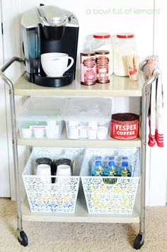 Organized Drink Station , perfect for your in home office or, sun room or even family room- A Bowl Full of Lemons