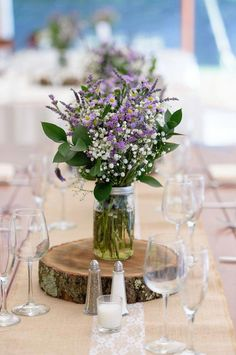 Rustic wedding centerpiece For A Rustic Meets Romantic Wedding Ideas , wedding centerpieces,Romantic floral Wedding Centerpieces , Wedding Ideas for Stunning Tall Centerpieces Lavender Centerpieces, Rustic Wedding Centerpieces, Wedding Table Centerpieces, Wedding Rustic, Romantic Decorations, Purple Rustic Weddings, Babys Breath Centerpiece Mason Jar, Purple Table Decorations, Lavender Wedding Decorations