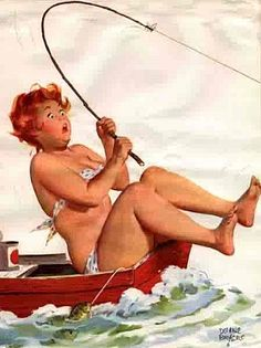 It's a Whale!  no... Hilda's caught something major -- in her little red boat, wearing her daisy bikini.