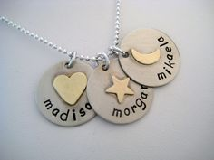 Personalized 3 Disc Sterling Silver and Brass Rustic Name Necklace. $36.00, via Etsy.