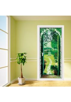 x sticker common European door size. Price Just the sort of thing to cover up those flat ugly boring doors.  sc 1 st  Pinterest & Door mural to cover ugly 70;s doors. Comes as 3pcs of 100cm x 70cm ...