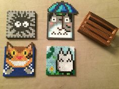 My Neighbor Totoro Perler Bead coaster set by POPgoesPerlerByRaven